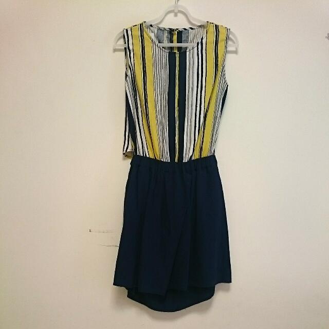 [換季拍賣]日系棉麻小洋裝~條紋丈青色(二手)