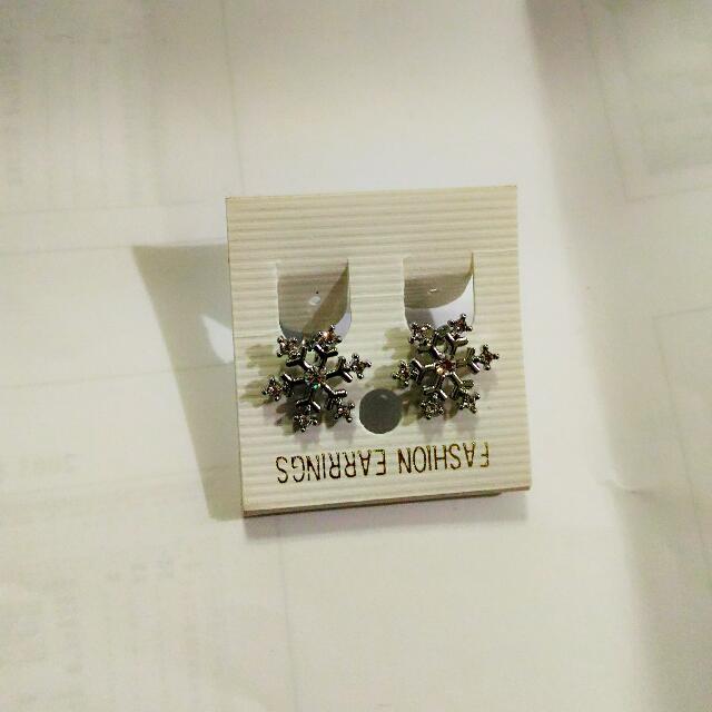 雪花夾式耳環