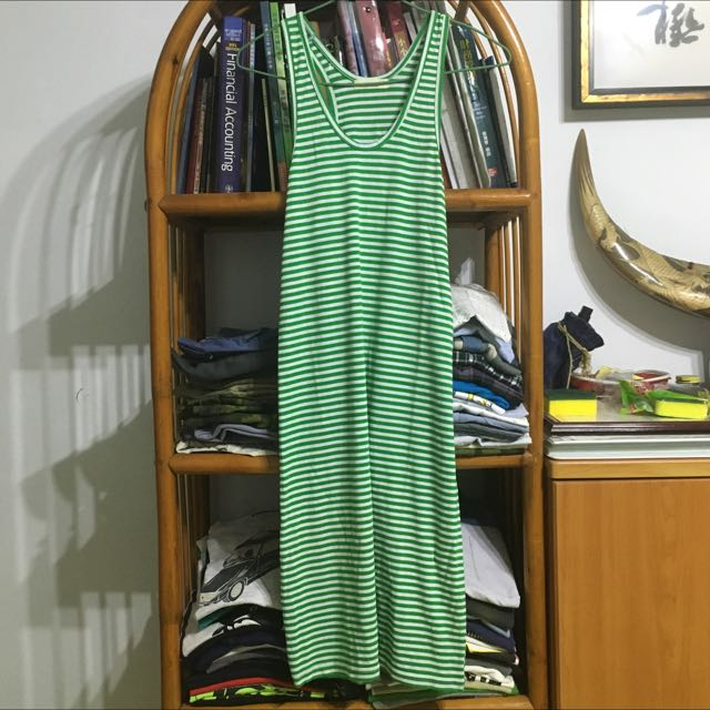 綠白條紋無袖洋裝