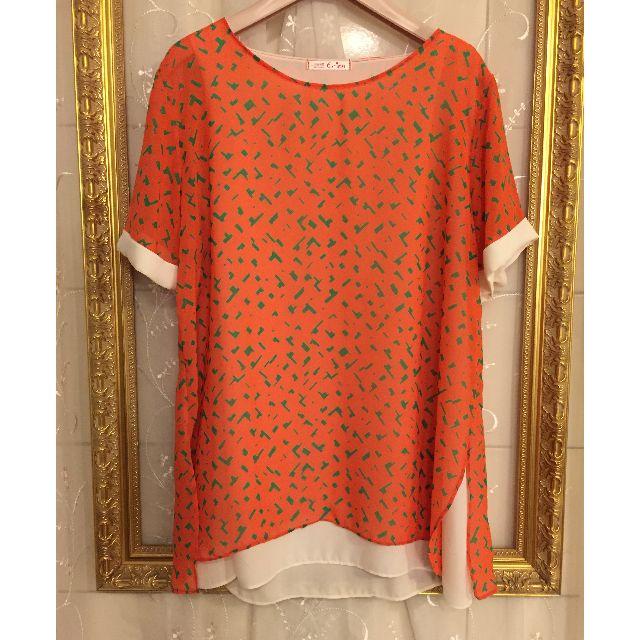 韓貨!側開衩亮橘不規則果綠色塊圖樣印花假兩件雪紡短袖上衣