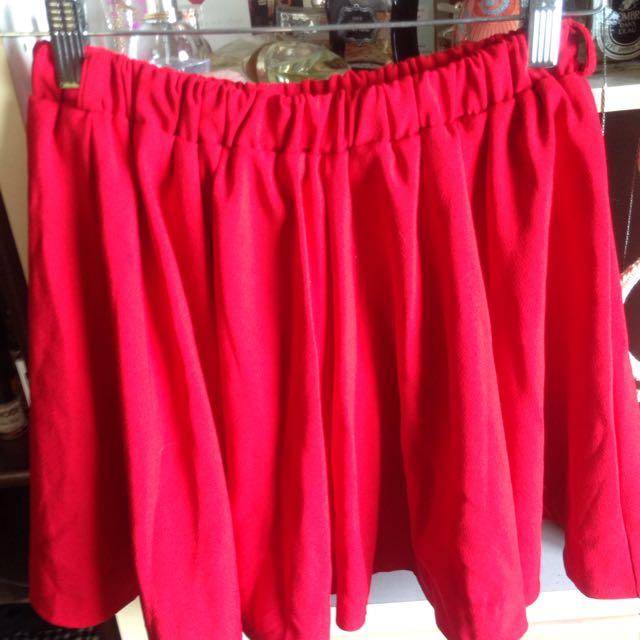 紅色百摺褲裙