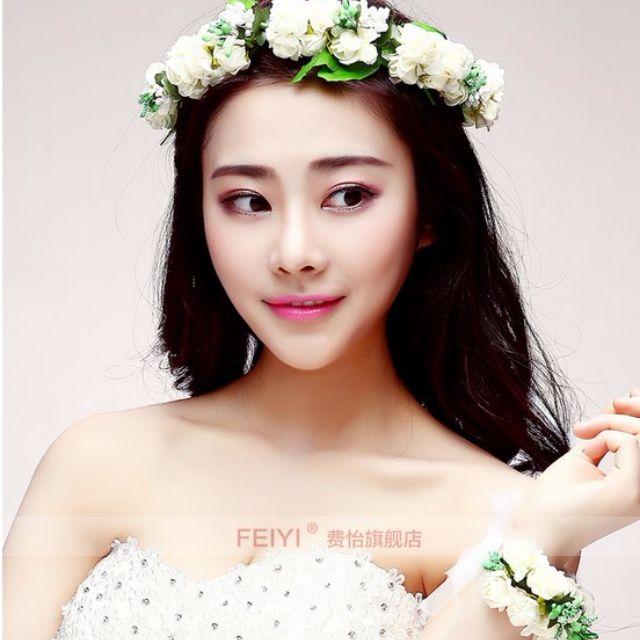 (全新)新娘伴娘頭花 花環花圈 手環頭飾髮箍