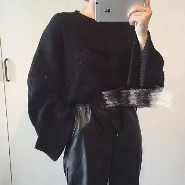 現貨 韓版 顯瘦 寬鬆喇叭袖 螺紋 毛衣