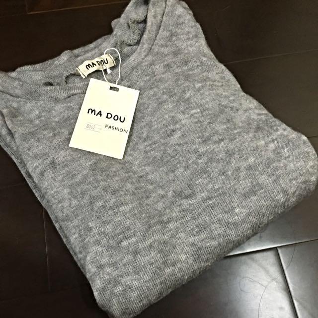 基本款 寬鬆 素面 長袖 混色 灰色 上衣 似針織
