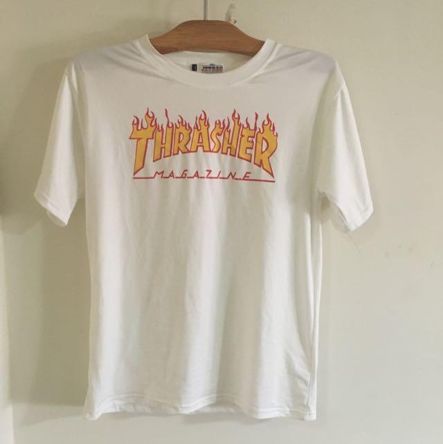 日本古著店帶回 白色 火焰款 Thrasher 短袖上衣
