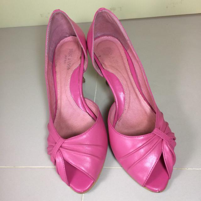 二手 Ben&1966 桃粉色 魚口高跟鞋