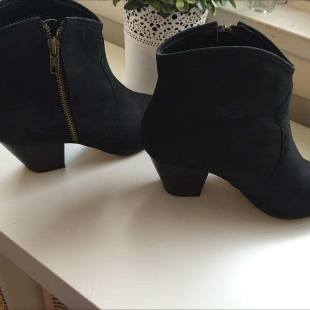 Black Suede Zu Ankle Boots (on Hold)