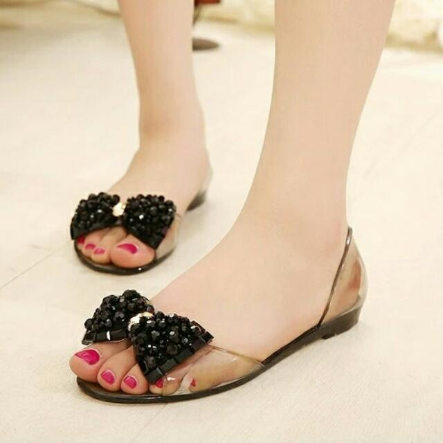 Flat Jelly Shoes Black Bow