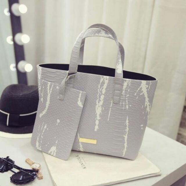 Grey White Bag