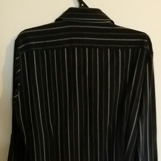 Hugo Boss Shirt Slim Fit Size L Black Stripes