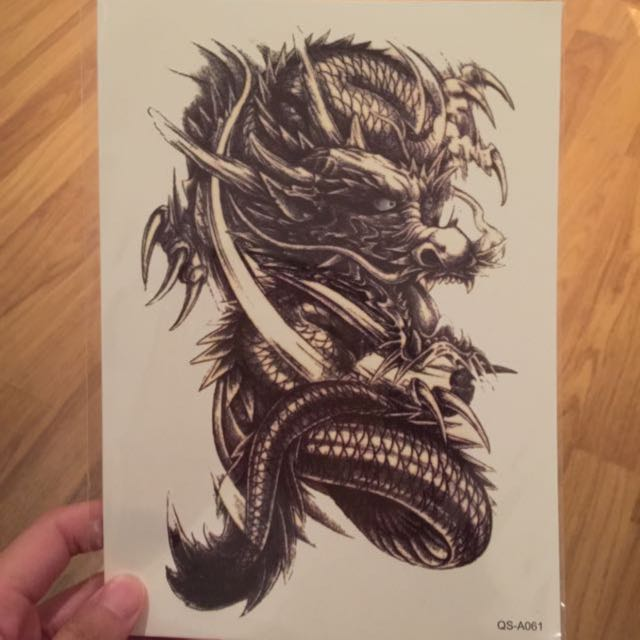 In Stock Super Real Dragon Tattoo Sticker Men S Fashion On Carousell
