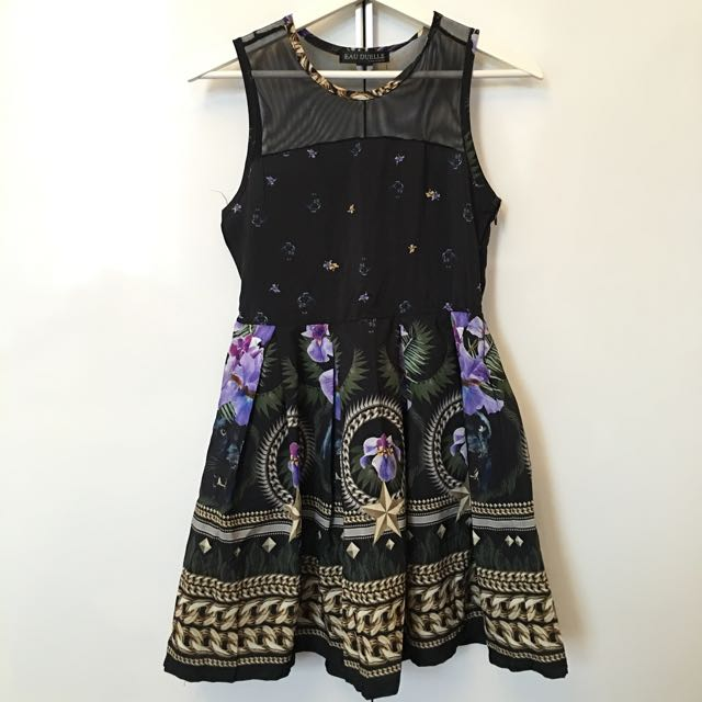 Mesh floral chain pattern Party dress