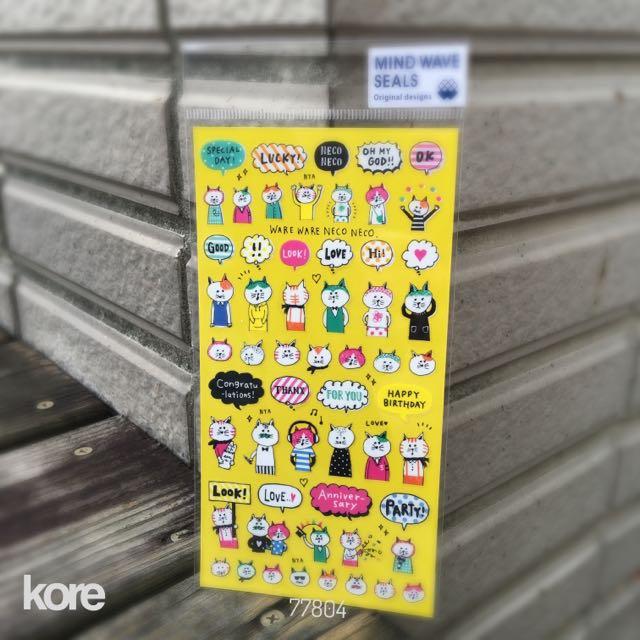 日本製Mind Wave 平貼紙包 -  [77804]貓咪對話框-1包56元