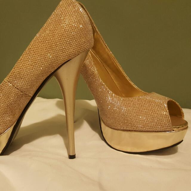 Near-new gold heels
