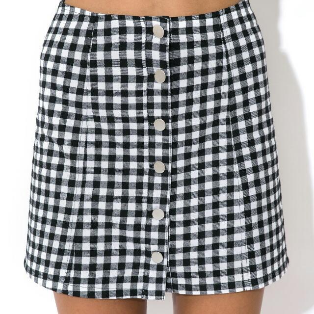 PARE Basic Gingham Skirt White