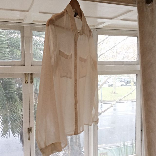 Sheer White Shirt Blouse Size 8