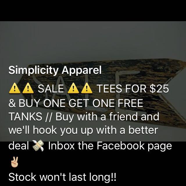 Simplicity Apparel Tshirts/tanksNew Designers