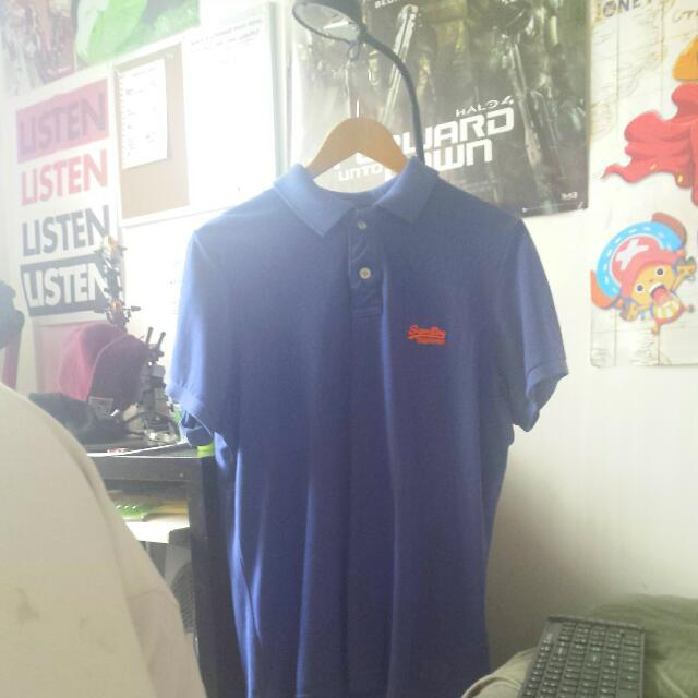 Superdry Vintage Destroyed Polo Navy Blue Size XL
