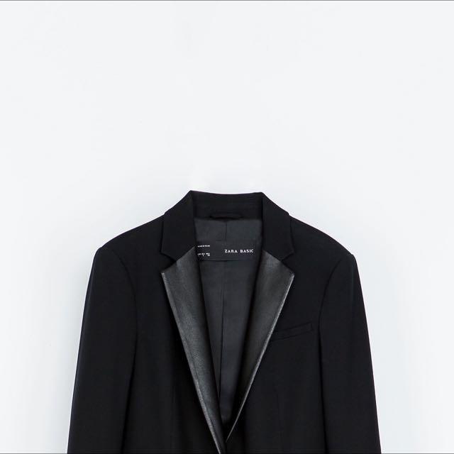 Zara Suit With Faux Leather Lapel