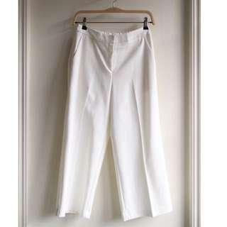 正韓後鬆緊白寬褲