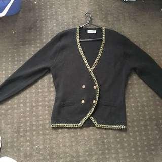 Black Cardigan With Gold Braid