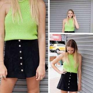 Green High Neck Knit Crop