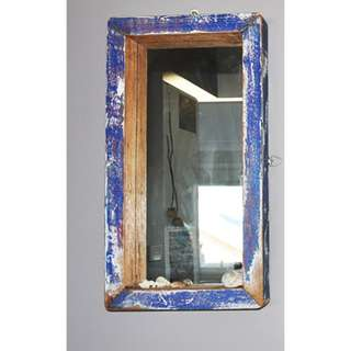 Handcrafted Blue Oak Mirror - from original vintage boat