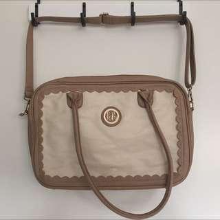 Kate Hill Tan & White Laptop Bag