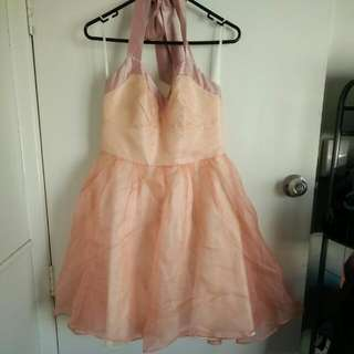 Review Sz 12 Peach Halter Dress