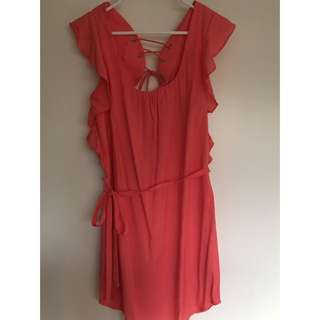 Ladakh Coral/Pink Dress With Criss-cross Back - Size 8