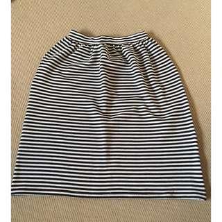 Miss Shop Navy Blue & White Midi Skirt - Size 8
