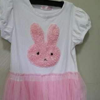 Little Girl's DRESS PINK RABBIT