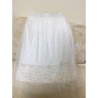 全新韓版白色雪紡裙