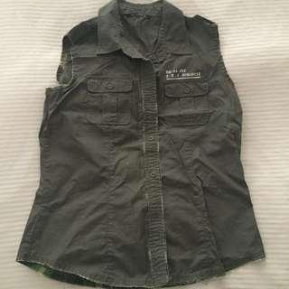 khaki sleeveless button up shirt