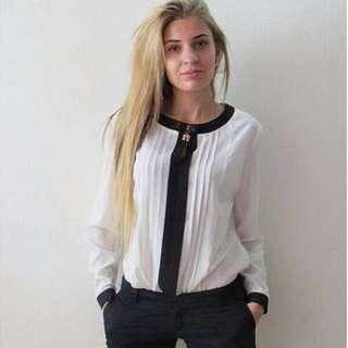 Women Casual Loose Chiffon Long Sleeve Crew Neck Shirt Blouse Tops Tee Black