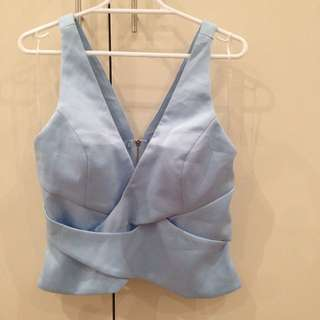 NEW Sky Blue Crop Top Size 12