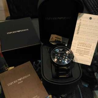 全新原廠正品ARMANI三眼鋼錶帶 AR2453