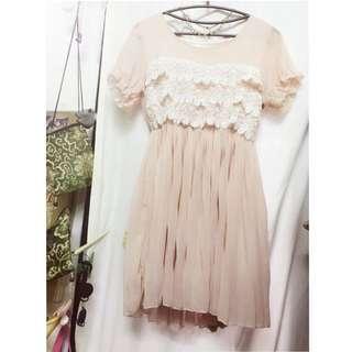 春夏款粉色蕾絲洋裝💕