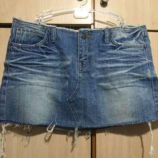 二手韓國帶回低腰復古洗舊mini牛仔裙