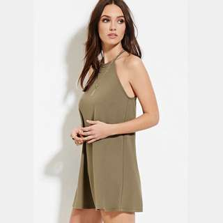 F21 Olive Green Halter Tank Slip Dress