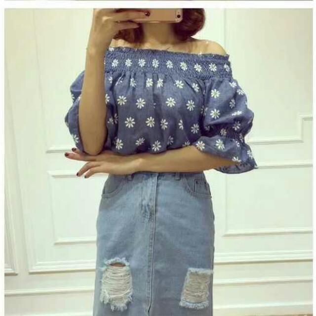 2016夏季韓版新款  甜美小清新  棉麻  一字領小雛菊 短袖 寬鬆 上衣
