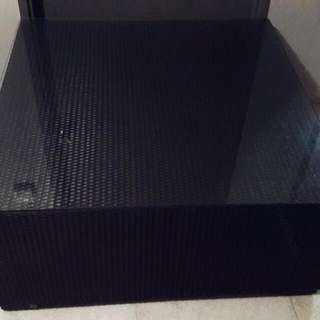Black Woven Wicker Square Table with Glass - Preloved (Reserved)