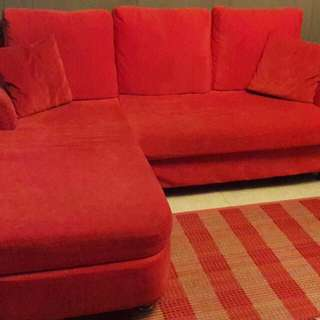 L-Shaped Red Sofa (Preloved)