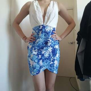 Ally Floral Low Cut Dress