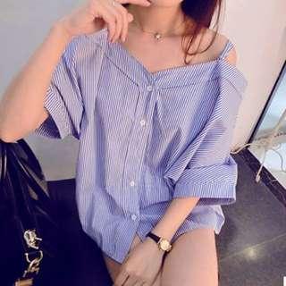 off shoulder long shirt [PO]