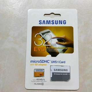 Samsung 32GB EVO MicroSDHC UHS-1 48mb/s (With SD ADAPTER) Brand New