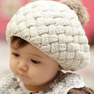 Knitted Infant Hat With Rabbit Pompom