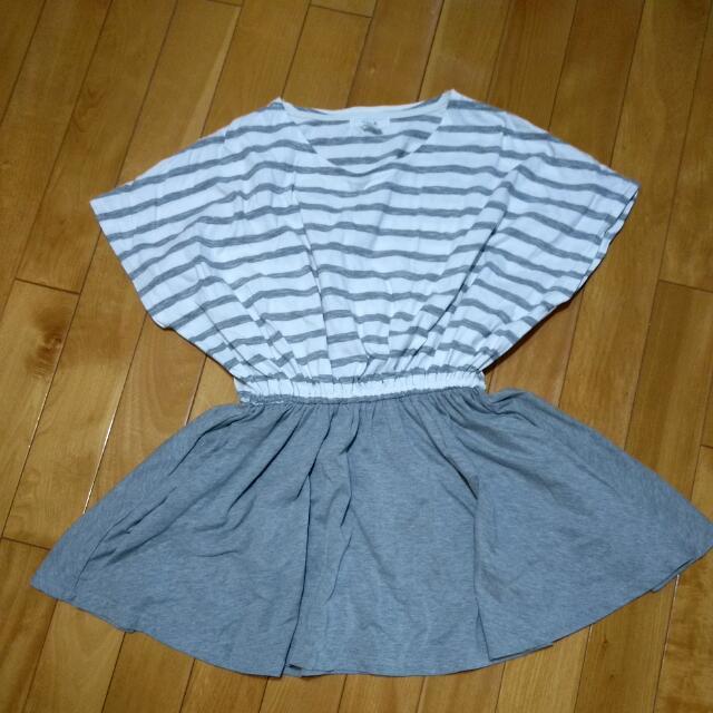灰色條紋連身裙
