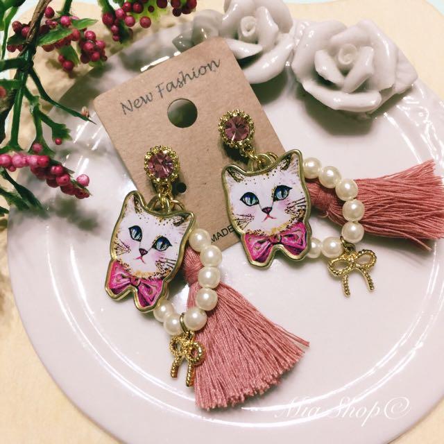 貓咪流蘇復古造型耳環