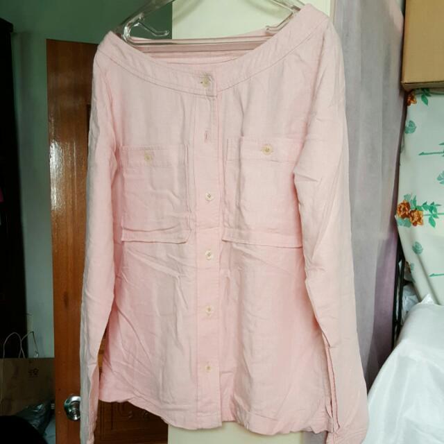 棉麻前扣休閒衫